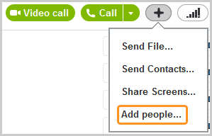 The Add people option that appears when you click the Plus button to the right of the Call button.
