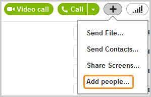 Opción Agregar personas que aparece al hacer clic en el botón + que está a la derecha del botón Llamar.