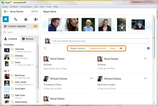 A Home do Skype com as opções contatos do Skype, amigos do Facebook, Alertas e Todos realçadas