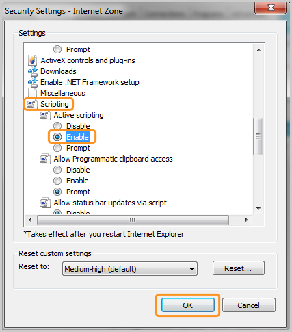 Scripting, Enable and OK options selected in the Internet Zone window.
