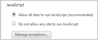 Allow all sites to run JavaScript (recommended). selected under JavaScript