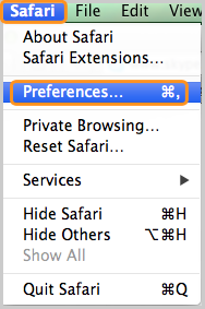 Menu Préférences... (Preferences…) sélectionné sous Safari.