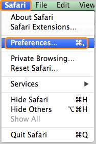 Preferences … selected under Safari.