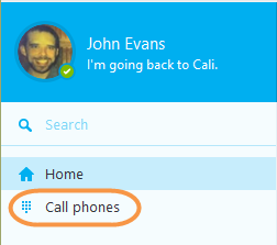 The Call phones button in the Skype toolbar.