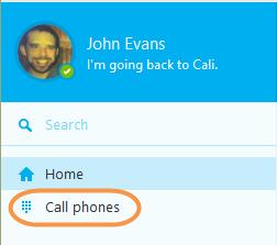 Pulsante Chiama i telefoni nella Skype toolbar.