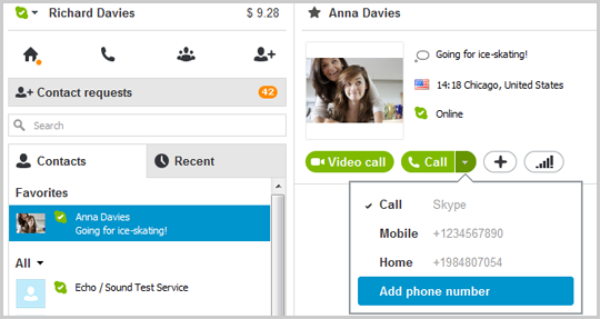 Call options displayed after clicking the down arrow on the Call button with the Add phone number option selected.