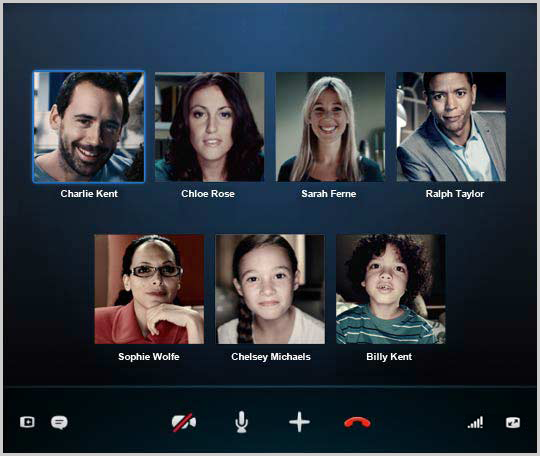 The Group Call window in Skype.
