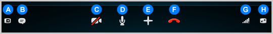 The Skype call bar with the available options.