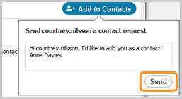 A filled-in contact request that is to be sent to a contact.
