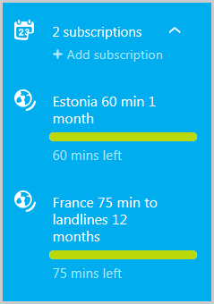 The Skype account page displaying details of two subscriptions.