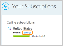 Your subscriptions listed under Manage features and the Settings button next to a subscription.