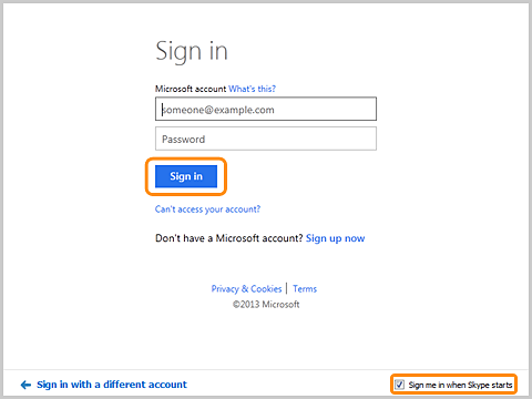 The Sign in with your Microsoft account screen.