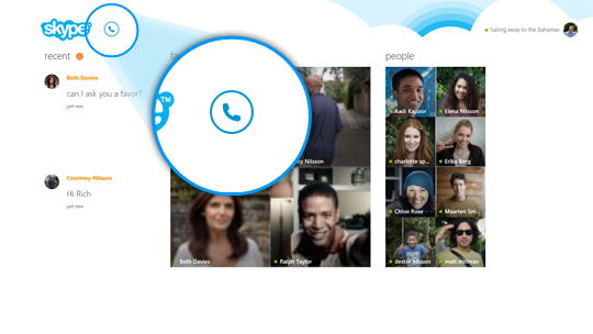 The call phone icon selected in Skype Home