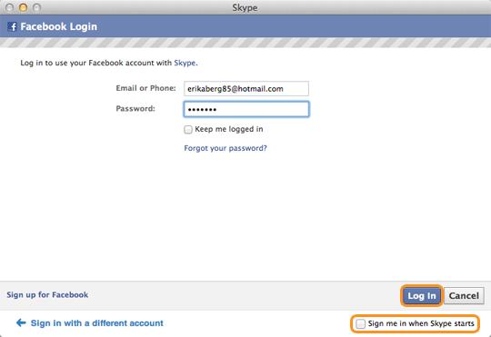 Comment faire pour me connecter skype pour mac os x avec mon compte facebook - Comment rester connecter sur facebook ...