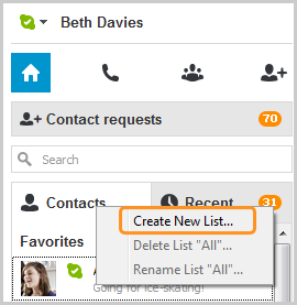 The Create New List… option selected after right-clicking the Contacts tab.