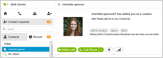 The Add to Contacts, Ignore and Block options displayed in the main window after selecting the contact you've removed.