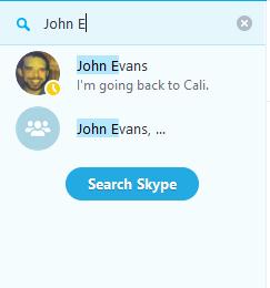 Opção Procurar todas as pessoas no Skype selecionada.