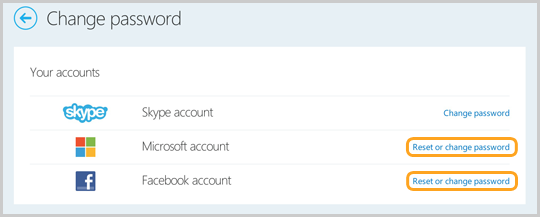 Sezione Modifica password del sito web dell'account Skype