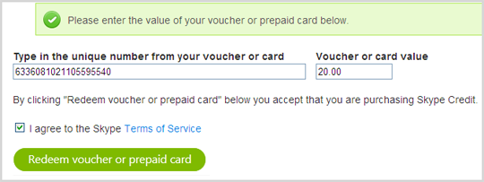 A box next to Type in the unique number form your voucher or card, below Voucher or card value