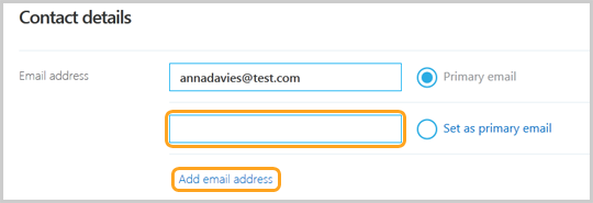 The Email address fill-in box in the Contact details section of your Skype account Profile webpage.