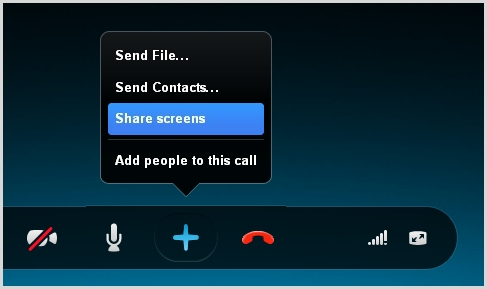 The Share screens option selected from the list that appears after clicking the plus button during a call.