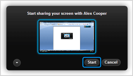The preview of the screen and the Start button selected in the dialog box.