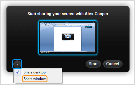 The Share window option selected from the list that appears after clicking the down arrow button in the dialog box.