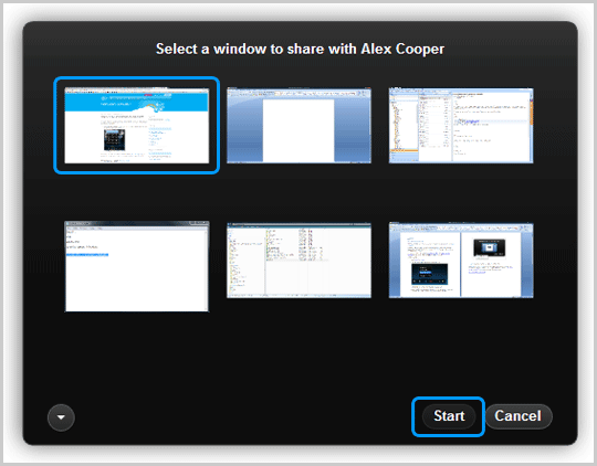 The window to be shared and the Start button selected in the dialog box.