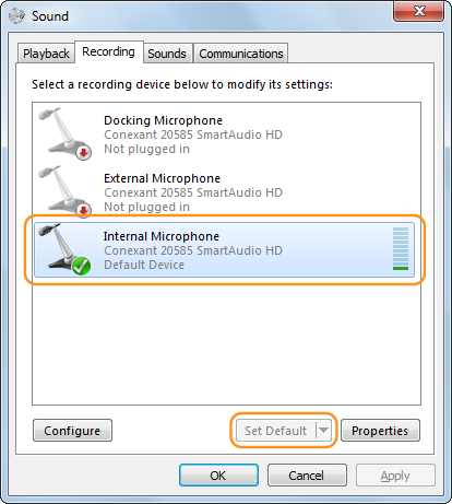 Internal Microphone with a tick on it and Set Default button selected.