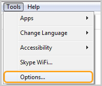 Options… selected from the menu that opens after clicking Tools.