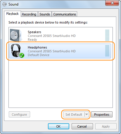 The device Skype uses (headphone) and Set default option selected in the Playback tab.