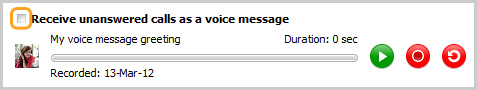 Receive unanswered calls as a voice message
