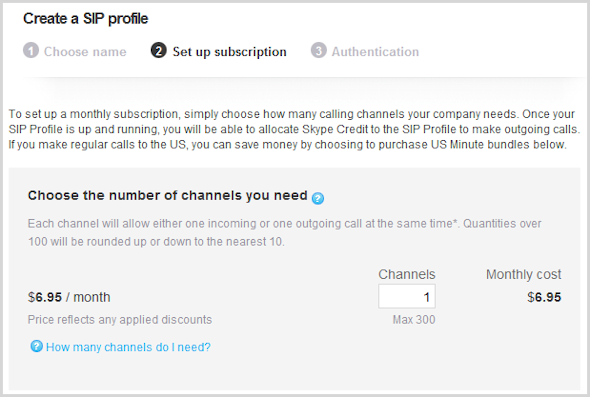 The box to enter the number of channels with the monthly cost displayed in the Create a SIP Profile window.