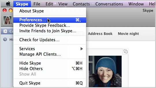 In Skype Home, select Preferences from the Skype drop-down menu