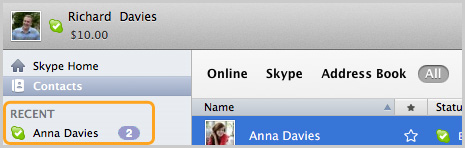 Contact dans la section Recent (Actions récentes) de Skype