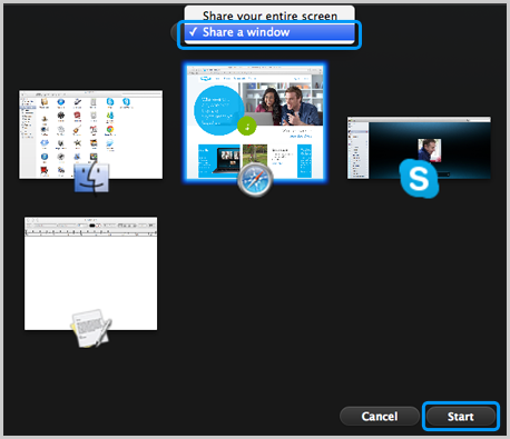 Screenshot of the Skype for Mac screen sharing window. It displays two options to share either entire screen or just an application window, miniaturized windows of open applications to choose from. Share a window option and Start buttons are highlighted