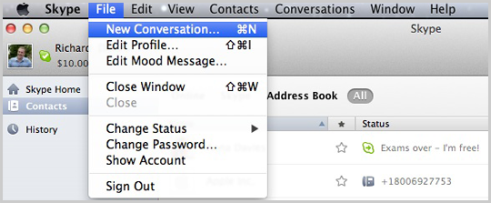 New Conversation selected from the menu displayed after clicking File.