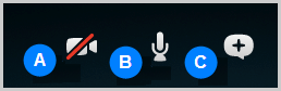 Screenshot of the options bar that you can bring up during a call. From the options bar, you can select the webcam icon to turn the video on or off, the microphone icon to mute or un-mute the microphone, or the plus icon to send files, share contacts or share screen