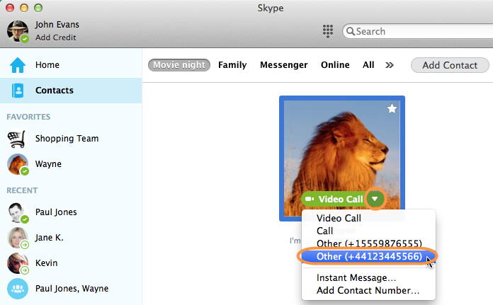 Screenshot of the contact selected in the Skype contact list and the phone number of that contact
