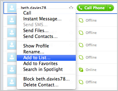 The Add to List option selected after right-clicking a contact.