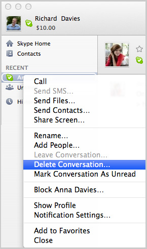 Delete conversation... option selected from the list displayed after clicking the conversation