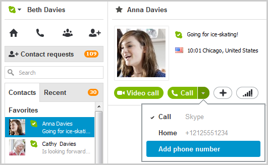 Add phone number selected from the drop-down menu displayed after selecting the arrow on the green Call button