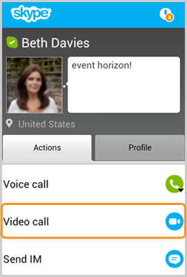 The Video call option selected in the Actions tab after selecting a contact in the Skype contact list.