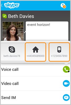 The landline and mobile number icon selected in a contact's profile.