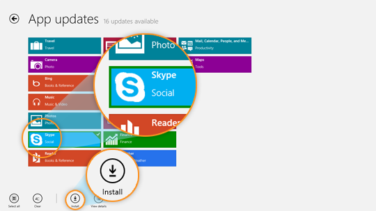 The App updates screen with the Skype tile and Install button selected.