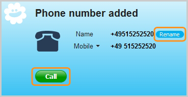 Skype window confirms you added the phone number to your contacts and displays options to rename and call it.