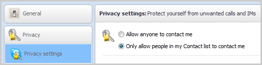 The Allow anyone to contact me and Only allow people in my Contact list to contact me options displayed under Privacy settings.