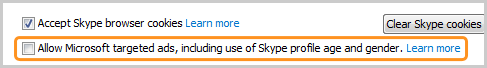 The Accept Skype browser cookies and Allow Microsoft targeted ads, including use of Skype profile and gender options displayed.