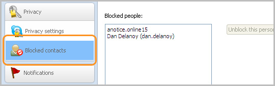 The Privacy settings panel showing blocked contacts.