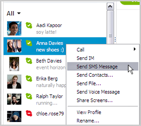 Right click menu on contact